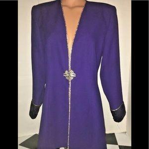 Vintage Embellished brooch Button Jacket Top 12